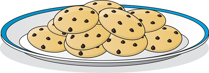 A drawing of a plate full of chocolate chip cookies
